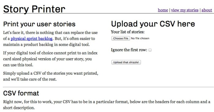 Screen grab of story printer